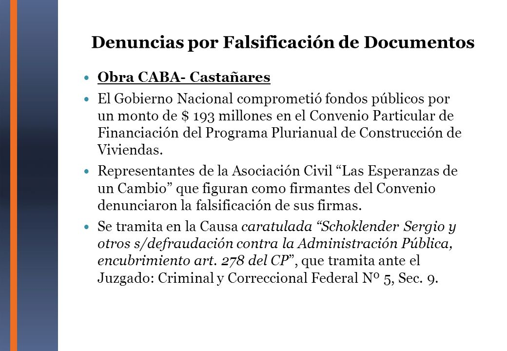 Denuncias por Falsificación de Documentos