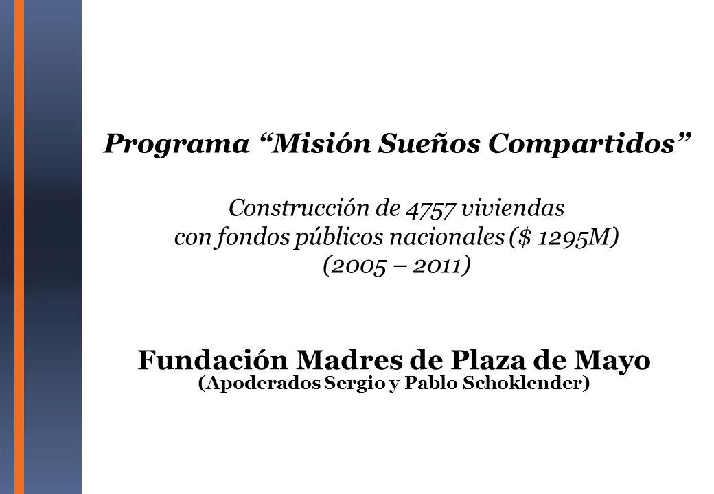 Programa Misión Sueños Compartidos Construcción de 4757 viviendas con fondos públicos nacionales ($ 1295M) (2005 – 2011)
