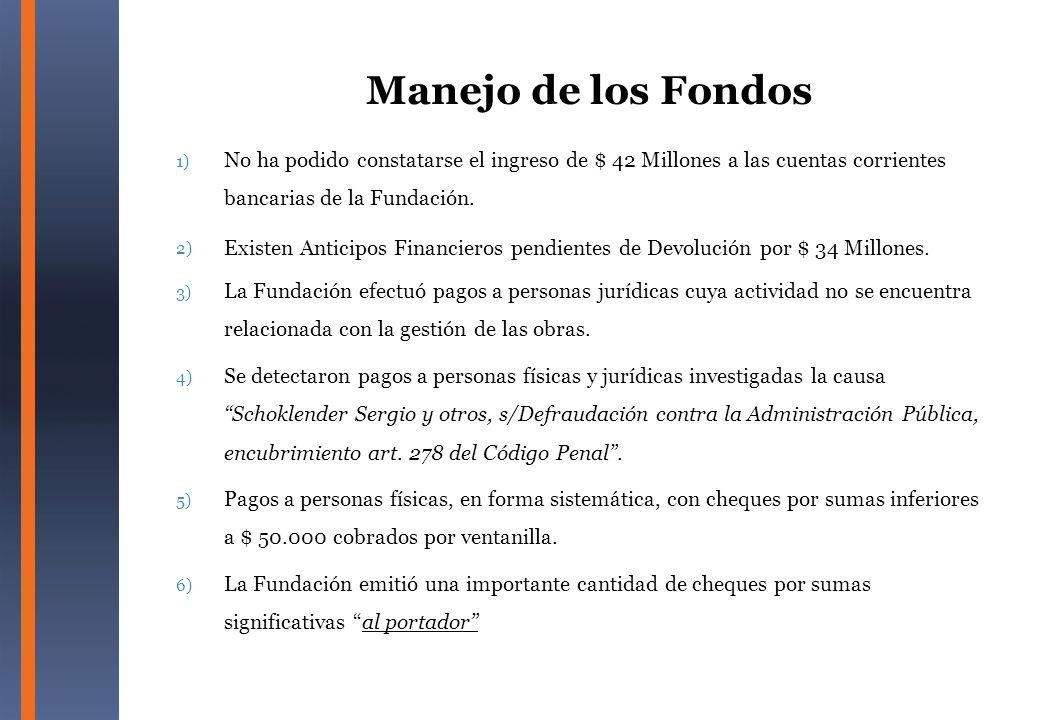 Manejo de los Fondos No ha podido constatarse el ingreso de $ 42 Millones a las cuentas corrientes bancarias de la Fundación.