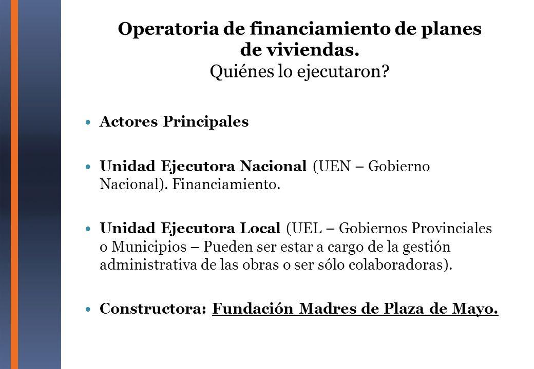 Operatoria de financiamiento de planes de viviendas