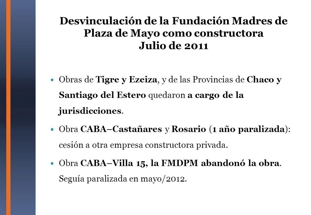 Desvinculación de la Fundación Madres de Plaza de Mayo como constructora Julio de 2011