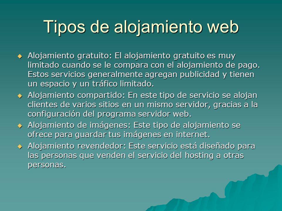 Tipos de alojamiento web