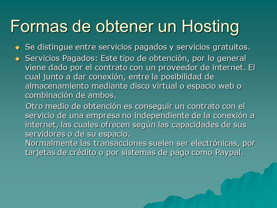 Formas de obtener un Hosting