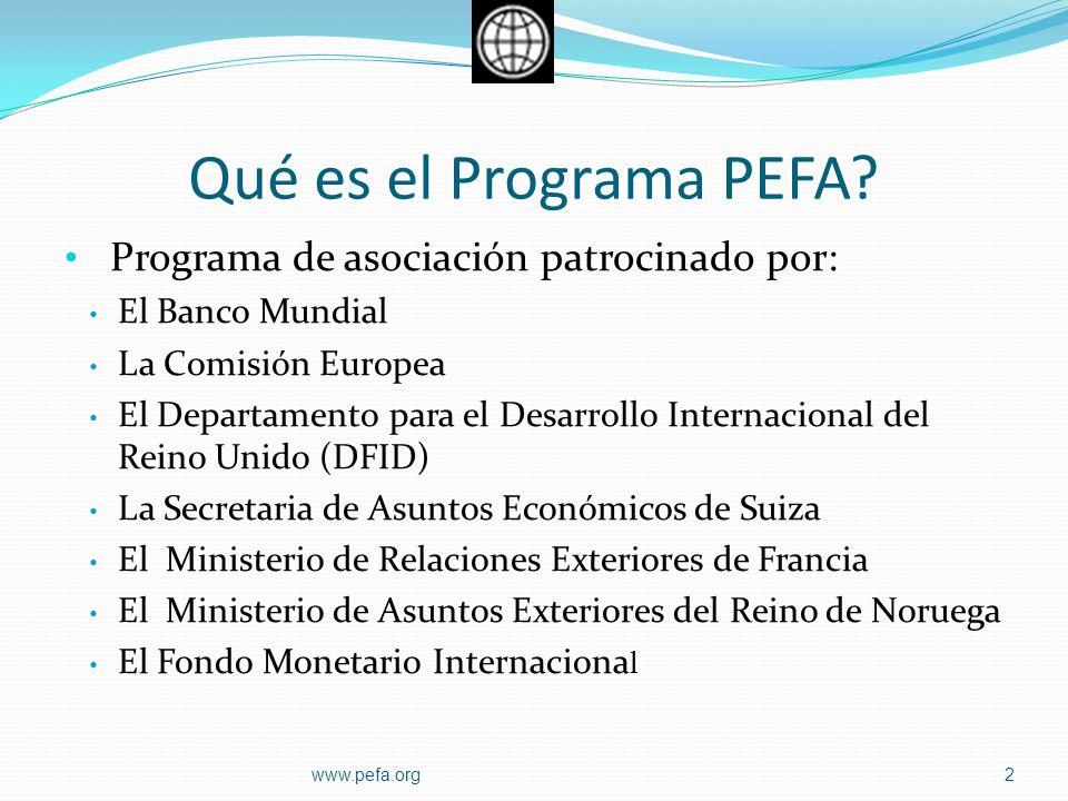 Qué es el Programa PEFA Programa de asociación patrocinado por:
