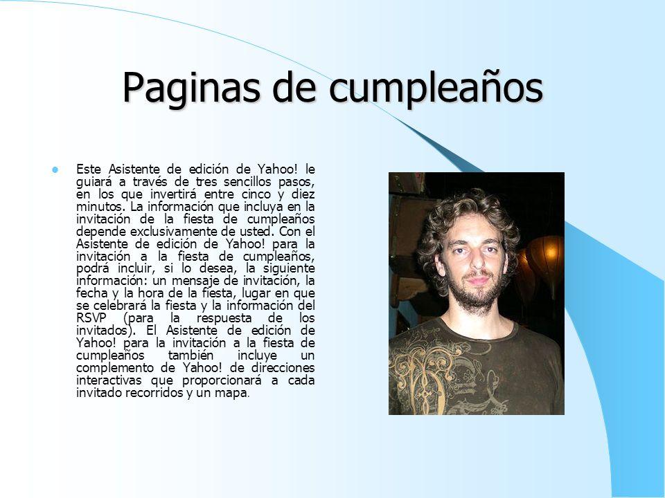 Paginas de cumpleaños