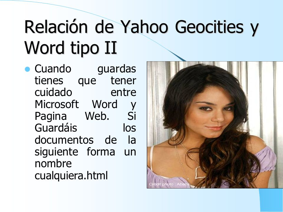 Relación de Yahoo Geocities y Word tipo II