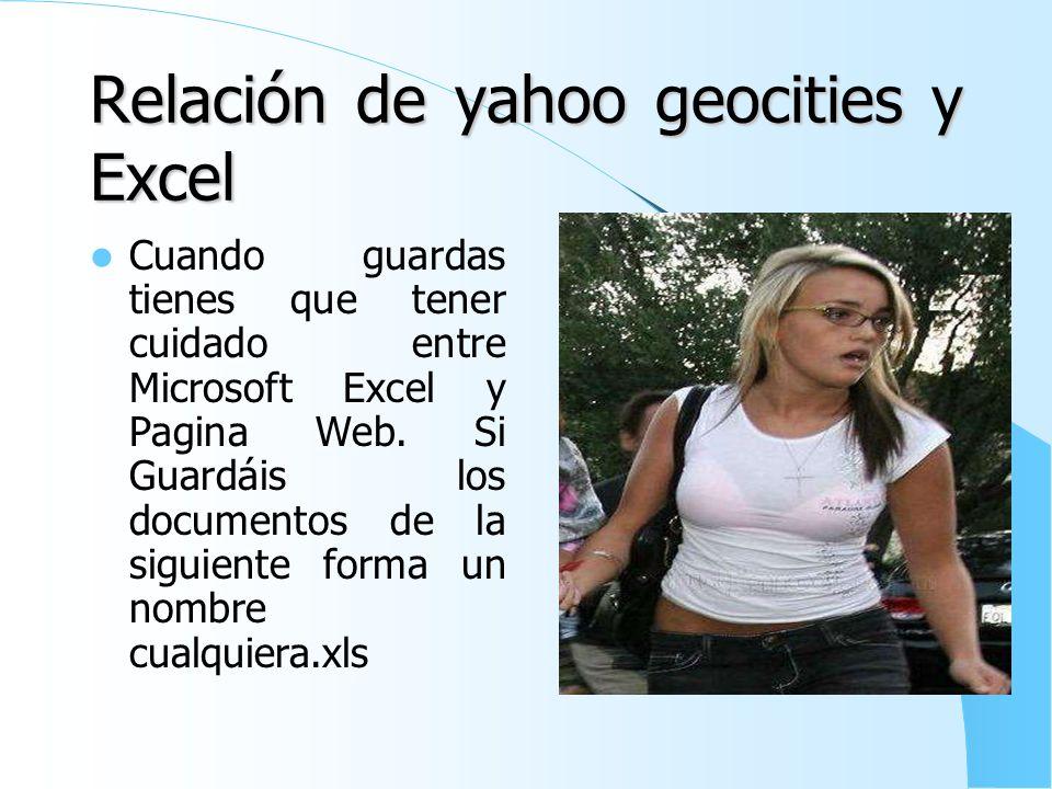 Relación de yahoo geocities y Excel
