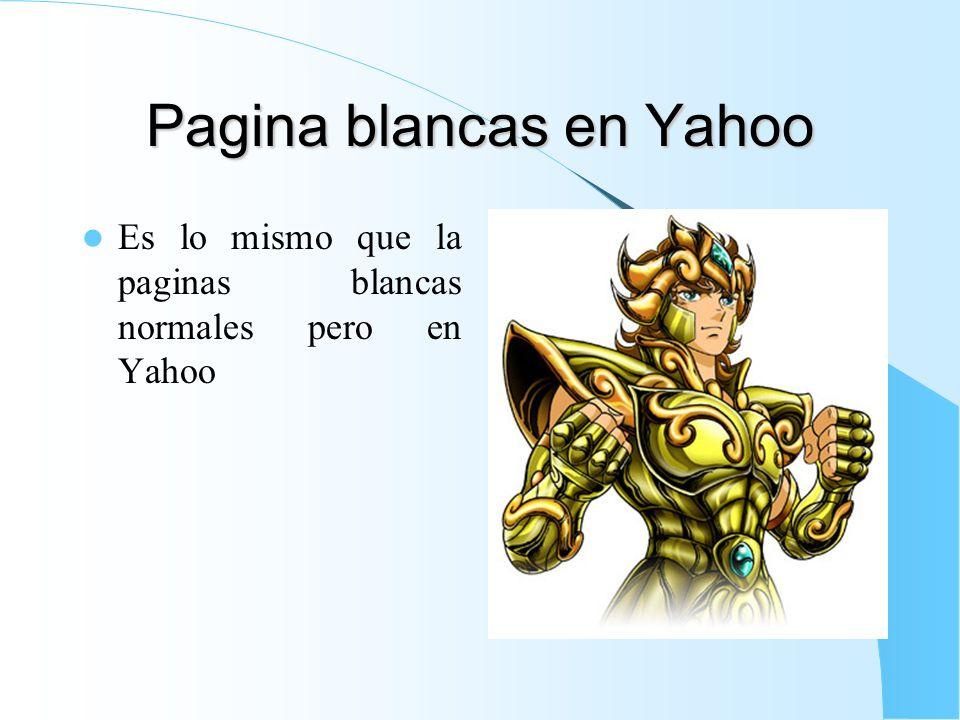 Pagina blancas en Yahoo