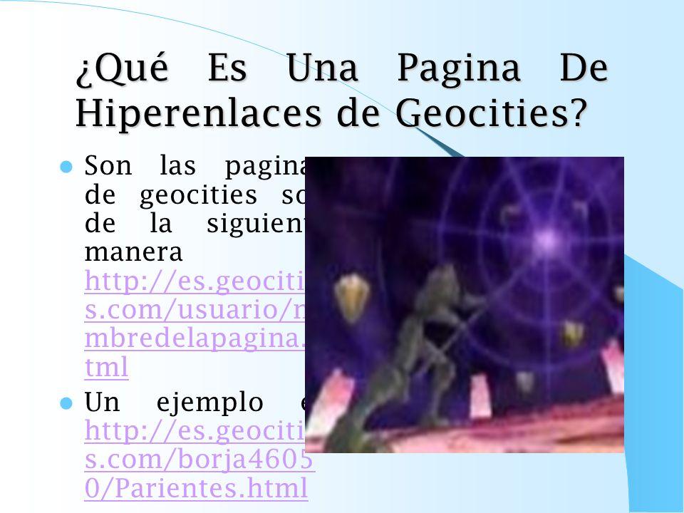 ¿Qué Es Una Pagina De Hiperenlaces de Geocities