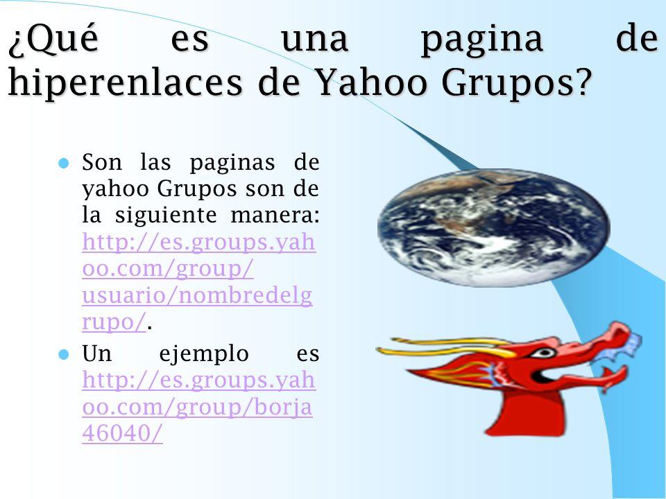 ¿Qué es una pagina de hiperenlaces de Yahoo Grupos