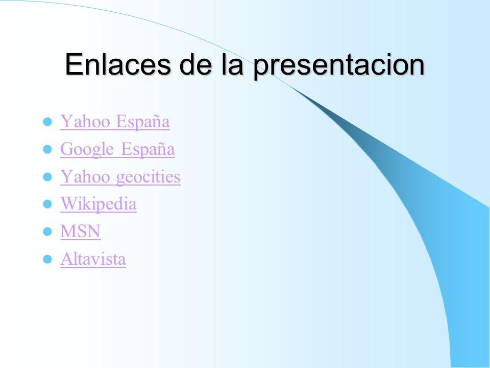 Enlaces de la presentacion
