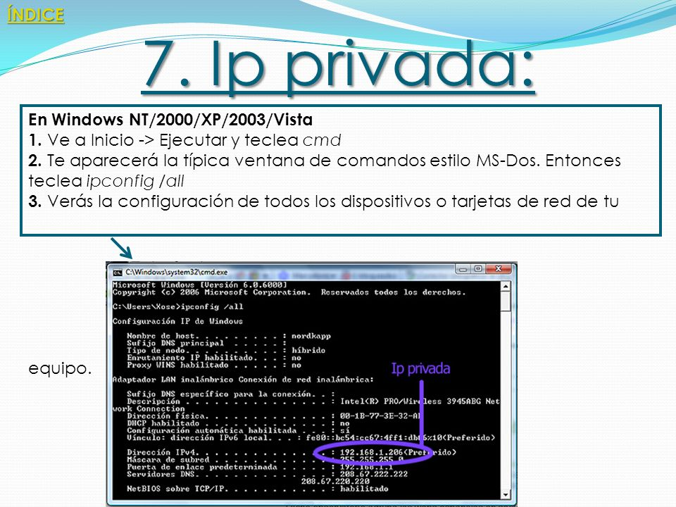 7. Ip privada: ÍNDICE En Windows NT/2000/XP/2003/Vista