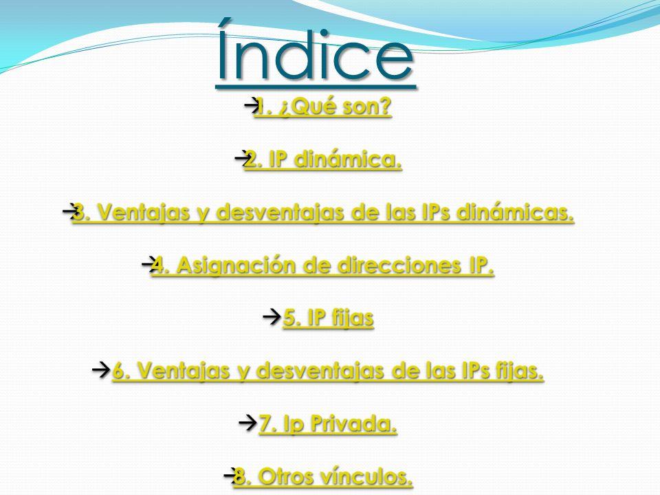 Índice 1. ¿Qué son 2. IP dinámica.