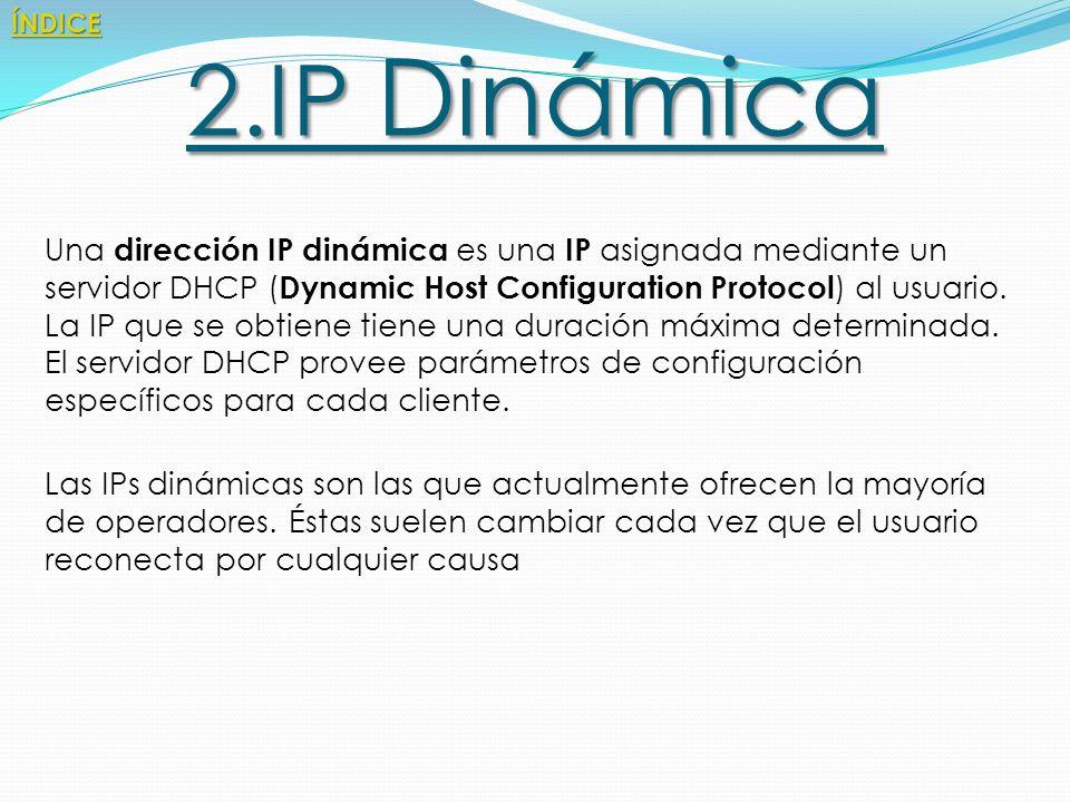 ÍNDICE 2.IP Dinámica.