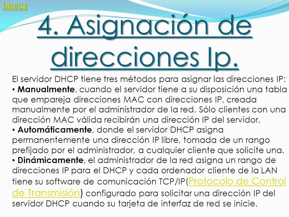 4. Asignación de direcciones Ip.