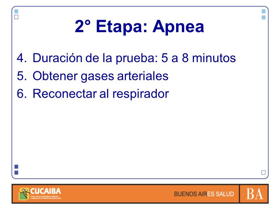 2° Etapa: Apnea Duración de la prueba: 5 a 8 minutos
