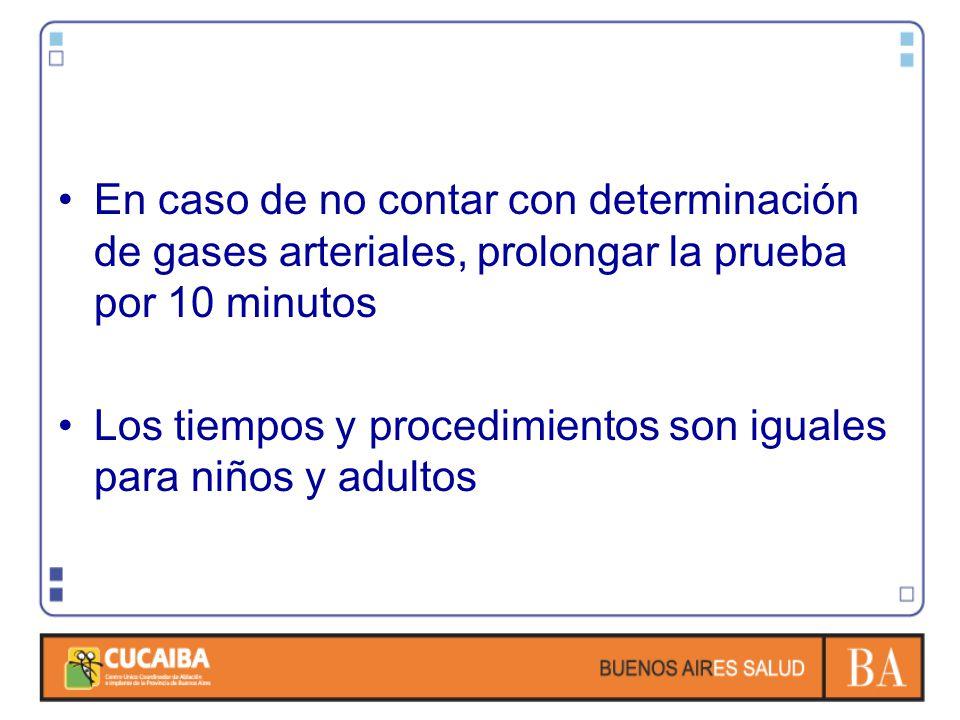 En caso de no contar con determinación de gases arteriales, prolongar la prueba por 10 minutos