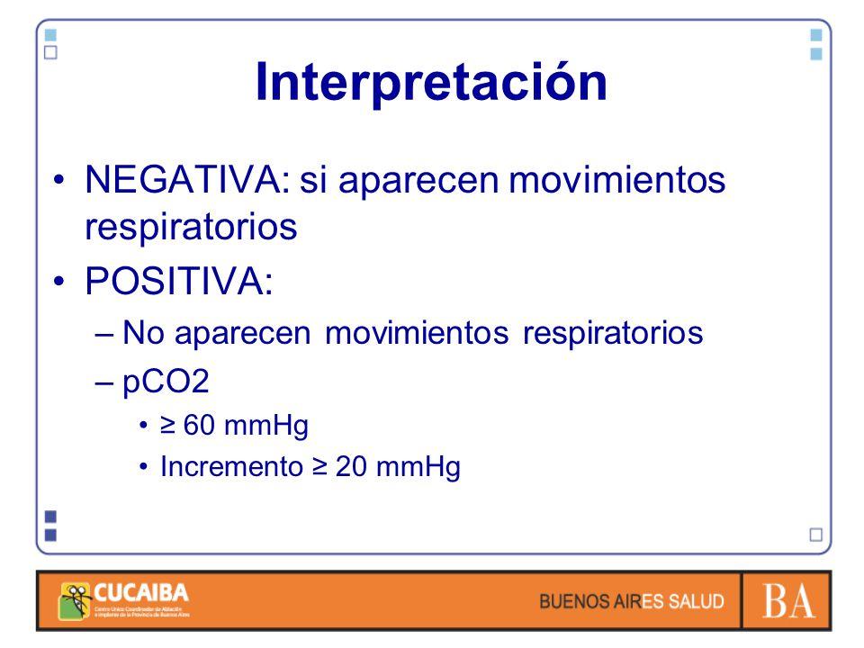 Interpretación NEGATIVA: si aparecen movimientos respiratorios