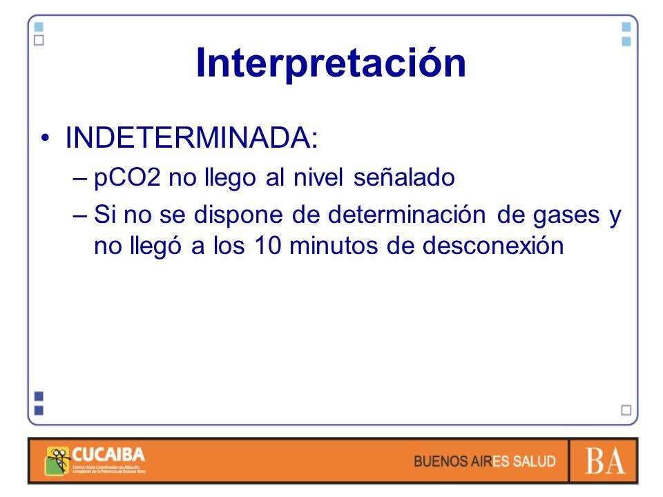 Interpretación INDETERMINADA: pCO2 no llego al nivel señalado