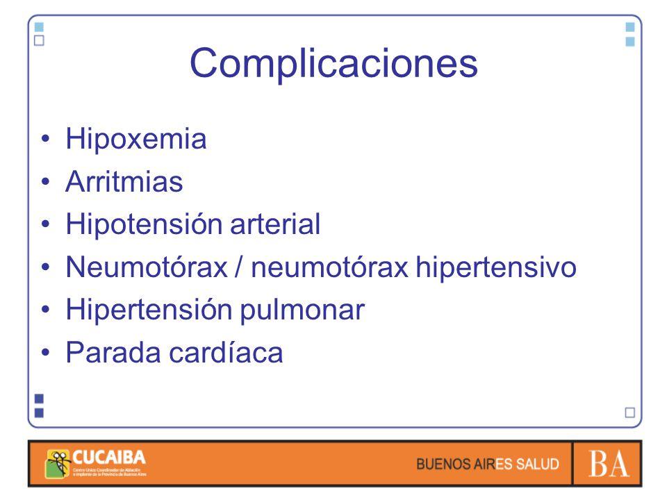 Complicaciones Hipoxemia Arritmias Hipotensión arterial