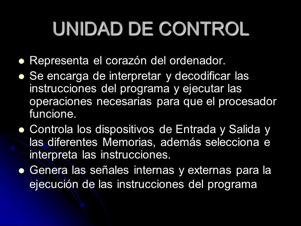 UNIDAD DE CONTROL Representa el corazón del ordenador.