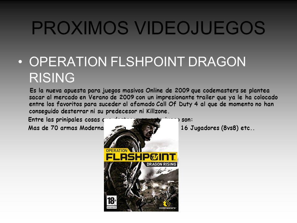 PROXIMOS VIDEOJUEGOS OPERATION FLSHPOINT DRAGON RISING