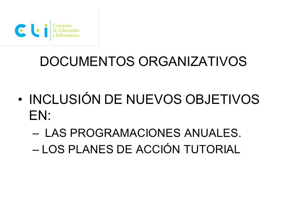 DOCUMENTOS ORGANIZATIVOS INCLUSIÓN DE NUEVOS OBJETIVOS EN:
