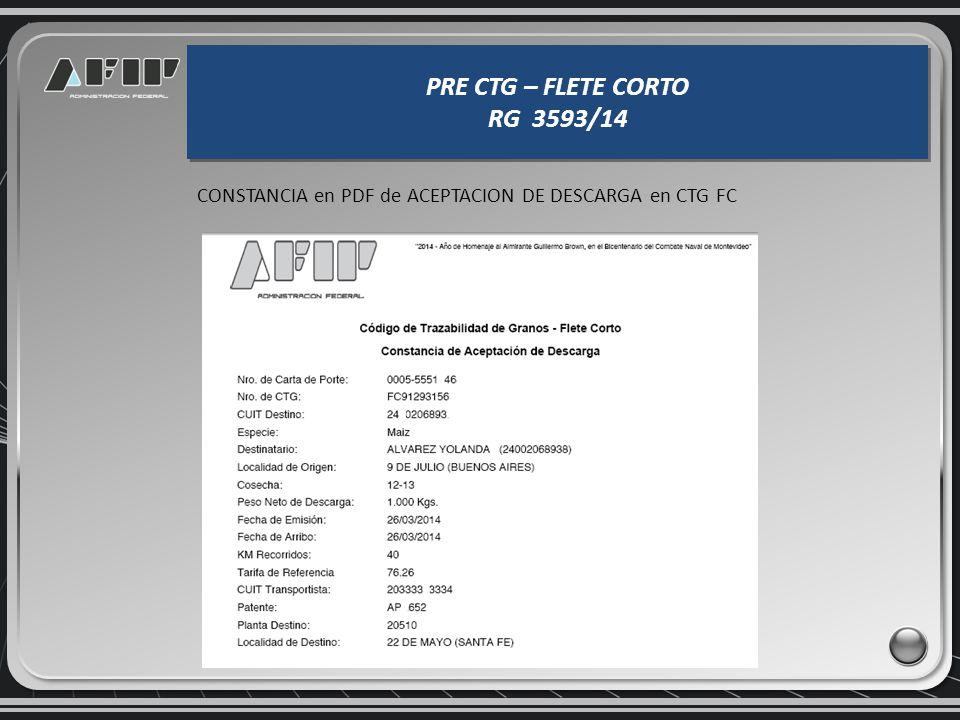 CONSTANCIA en PDF de ACEPTACION DE DESCARGA en CTG FC