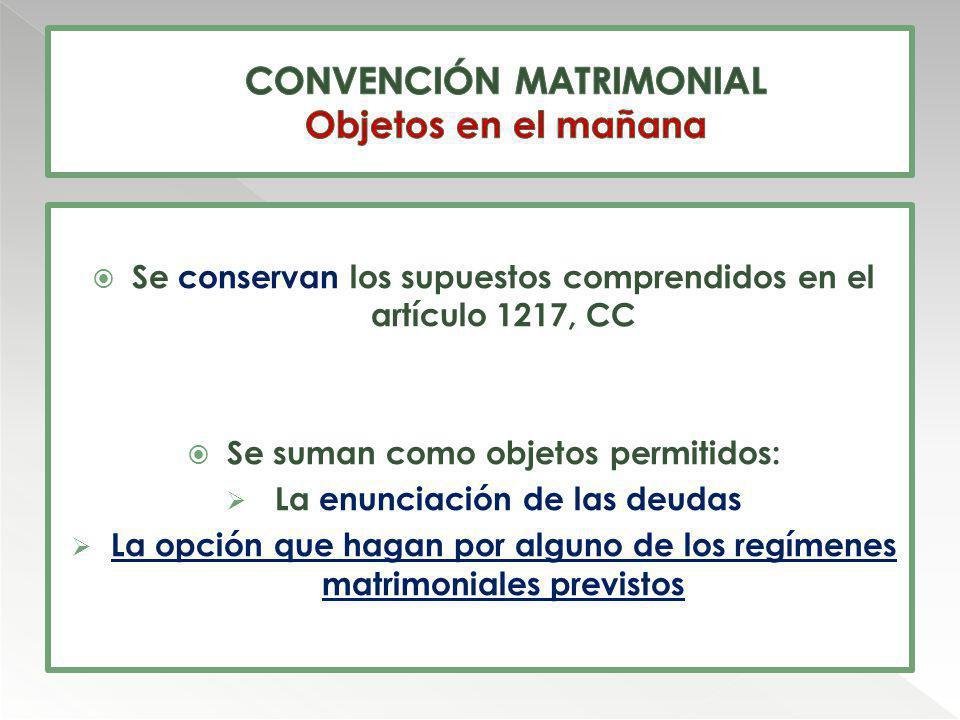 CONVENCIÓN MATRIMONIAL Objetos en el mañana
