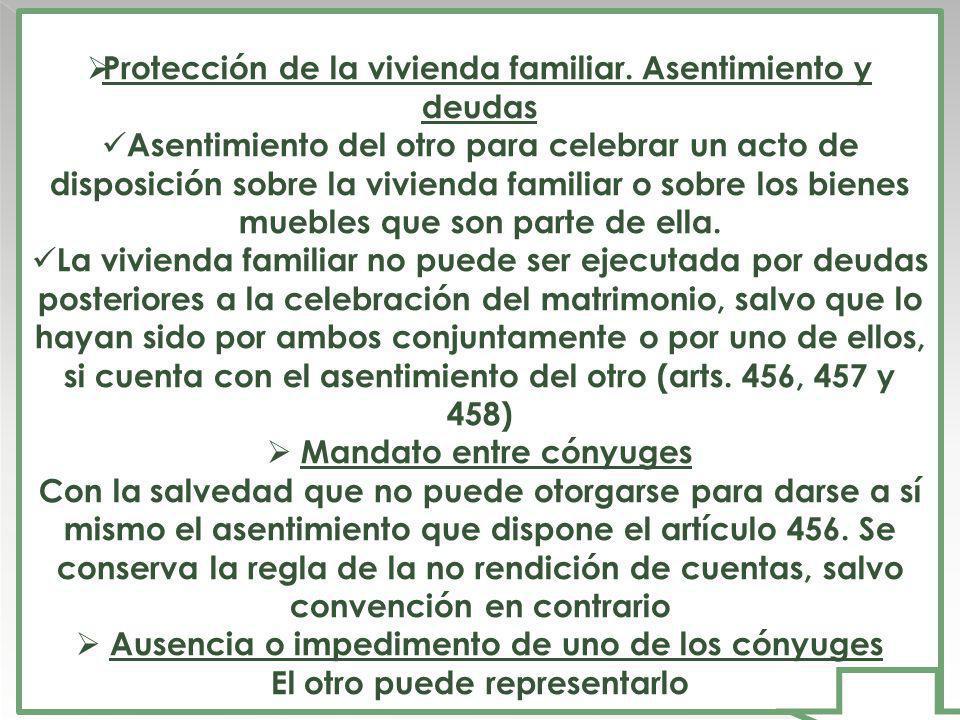 Protección de la vivienda familiar. Asentimiento y deudas