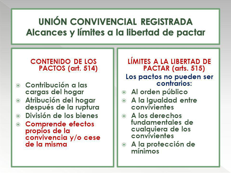 UNIÓN CONVIVENCIAL REGISTRADA Alcances y límites a la libertad de pactar