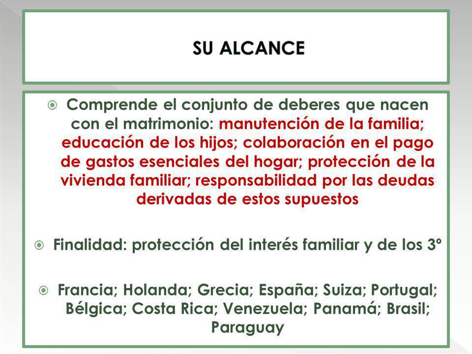 Finalidad: protección del interés familiar y de los 3º