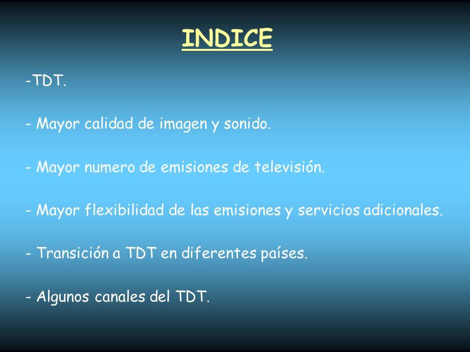 INDICE TDT. Mayor calidad de imagen y sonido.