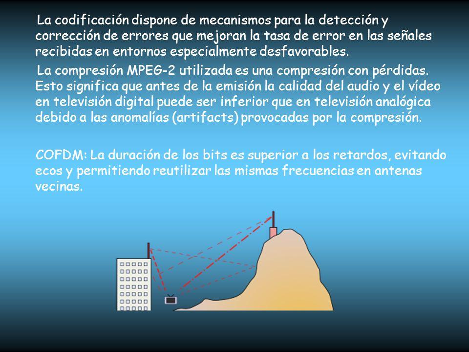 La codificación dispone de mecanismos para la detección y corrección de errores que mejoran la tasa de error en las señales recibidas en entornos especialmente desfavorables.