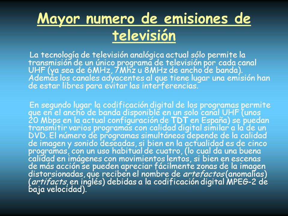 Mayor numero de emisiones de televisión