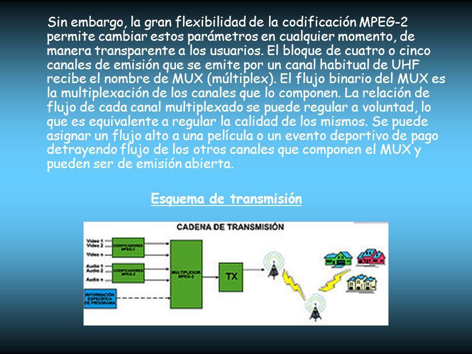 Sin embargo, la gran flexibilidad de la codificación MPEG-2 permite cambiar estos parámetros en cualquier momento, de manera transparente a los usuarios. El bloque de cuatro o cinco canales de emisión que se emite por un canal habitual de UHF recibe el nombre de MUX (múltiplex). El flujo binario del MUX es la multiplexación de los canales que lo componen. La relación de flujo de cada canal multiplexado se puede regular a voluntad, lo que es equivalente a regular la calidad de los mismos. Se puede asignar un flujo alto a una película o un evento deportivo de pago detrayendo flujo de los otros canales que componen el MUX y pueden ser de emisión abierta.