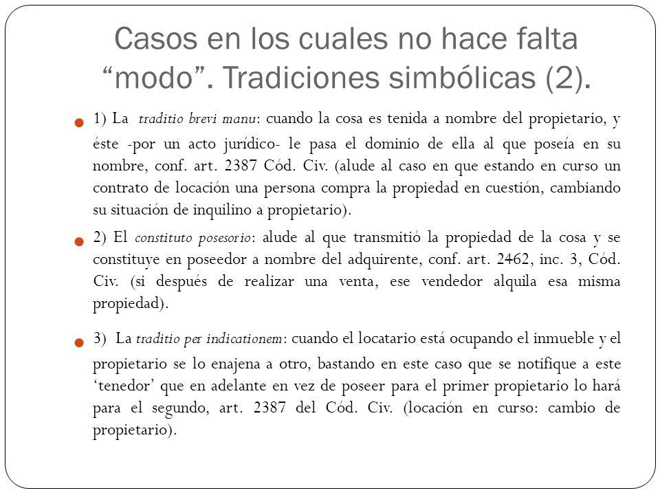Casos en los cuales no hace falta modo . Tradiciones simbólicas (2).