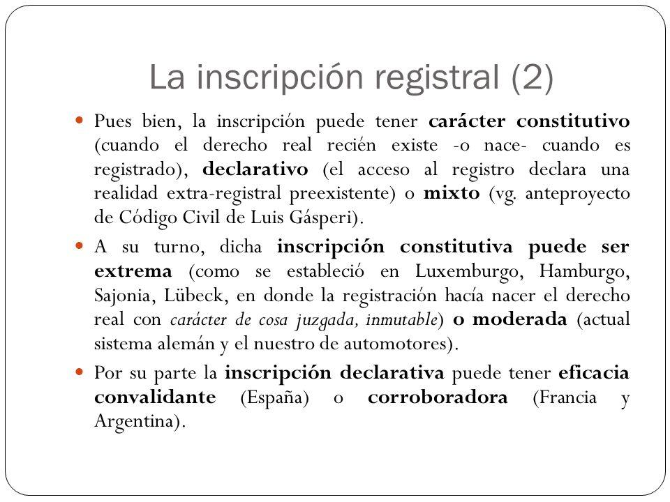 La inscripción registral (2)