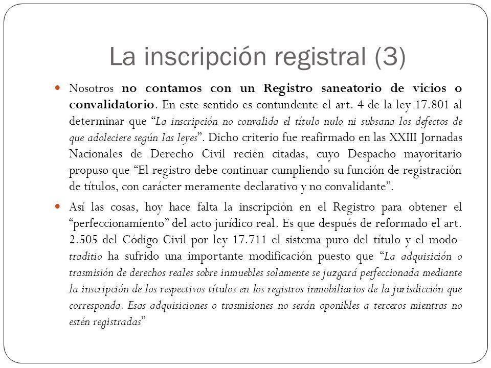 La inscripción registral (3)
