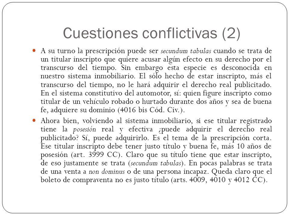 Cuestiones conflictivas (2)