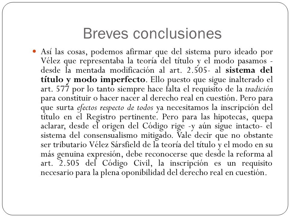 Breves conclusiones