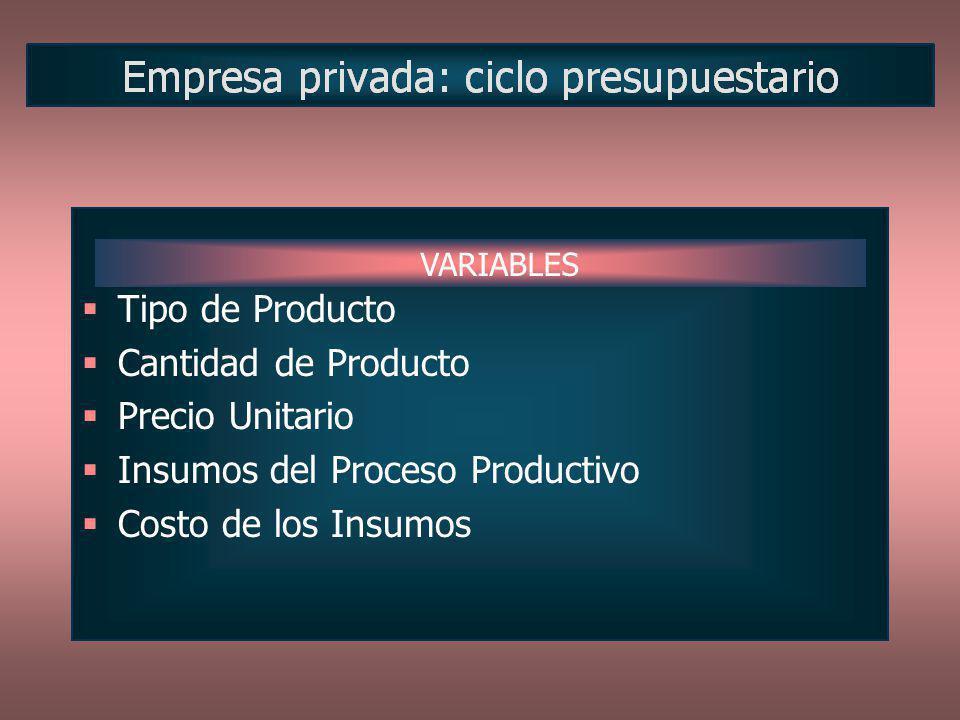 Insumos del Proceso Productivo Costo de los Insumos
