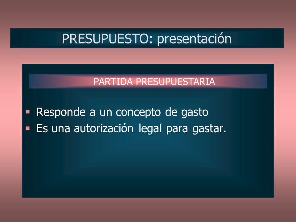 PRESUPUESTO: presentación