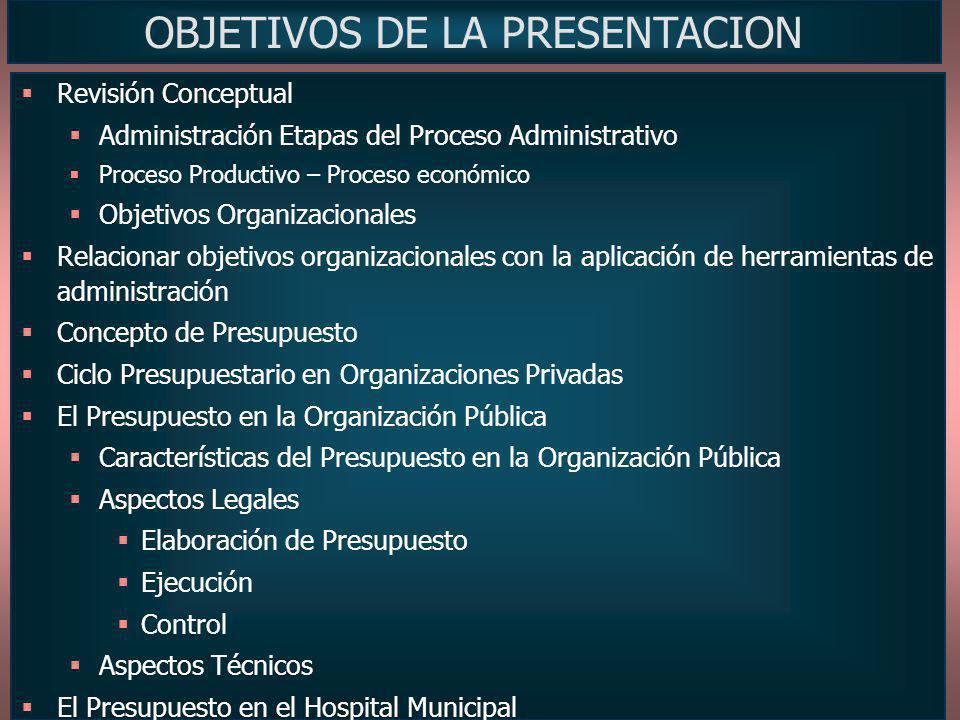OBJETIVOS DE LA PRESENTACION