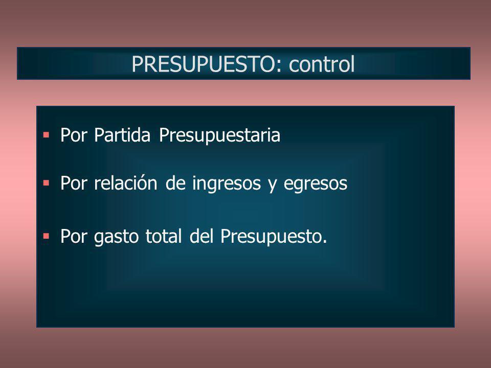 PRESUPUESTO: control Por Partida Presupuestaria