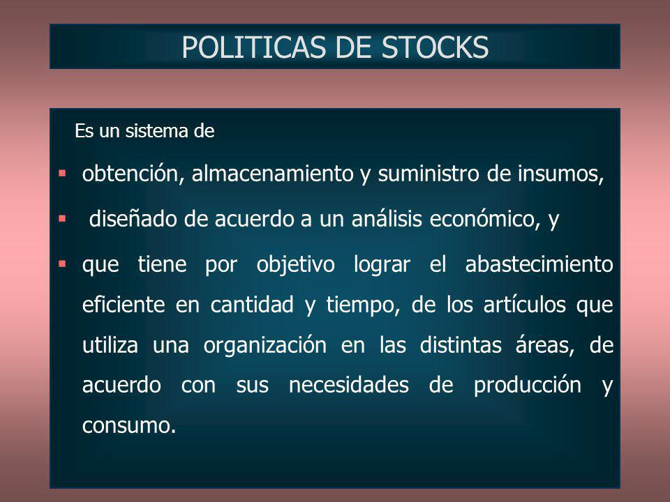 POLITICAS DE STOCKS obtención, almacenamiento y suministro de insumos,
