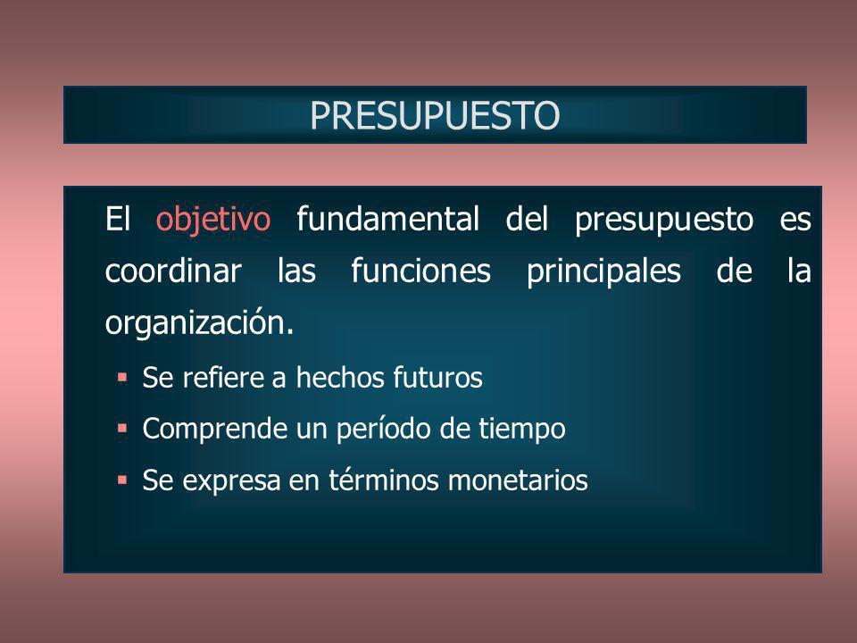 PRESUPUESTO El objetivo fundamental del presupuesto es coordinar las funciones principales de la organización.