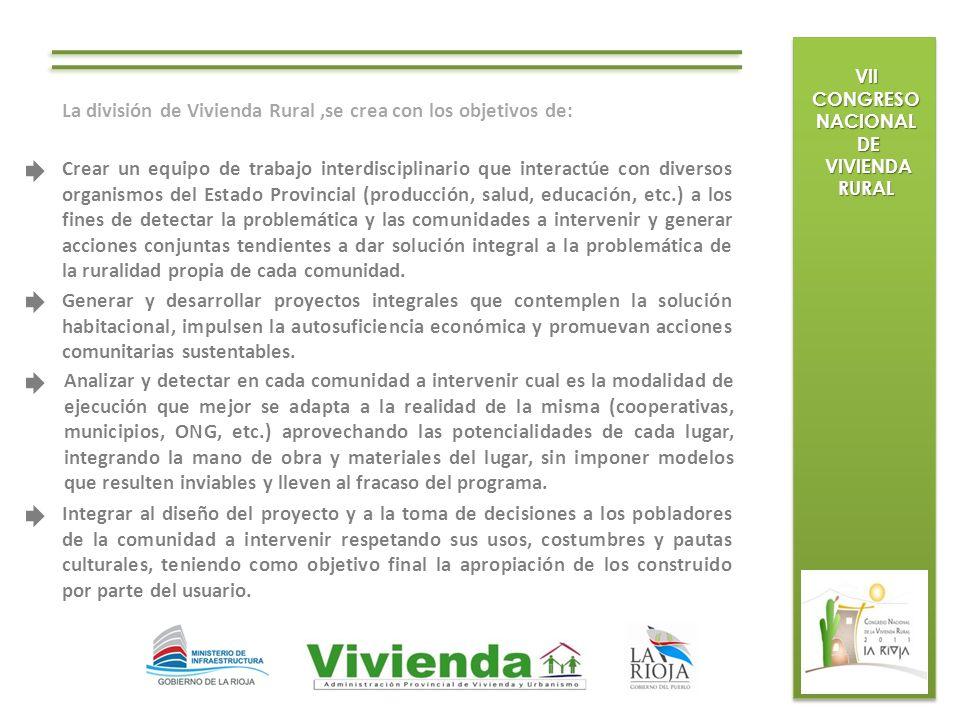 La división de Vivienda Rural ,se crea con los objetivos de: