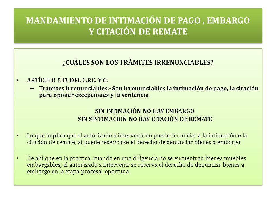 MANDAMIENTO DE INTIMACIÓN DE PAGO , EMBARGO Y CITACIÓN DE REMATE