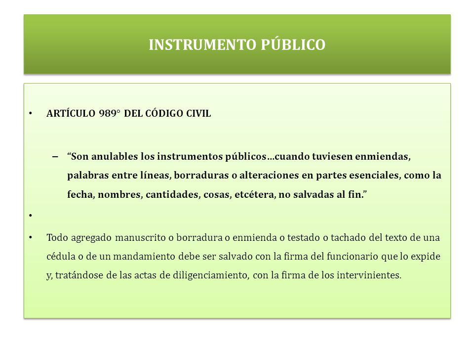 INSTRUMENTO PÚBLICO ARTÍCULO 989° DEL CÓDIGO CIVIL